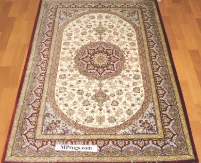 3x5 qum Persian rug with signature