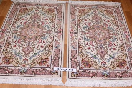 Small 4x2 Tabriz twin Persian rugs. Twin Tabriz Persian carpets with silk