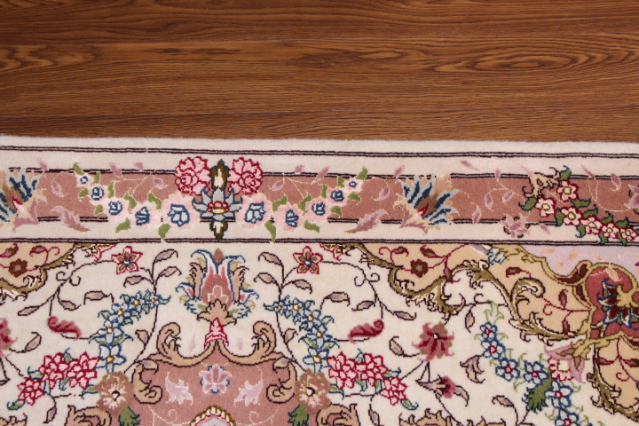2x4 Tabriz twin Persian rugs. Twin Tabriz Persian carpets with silk.