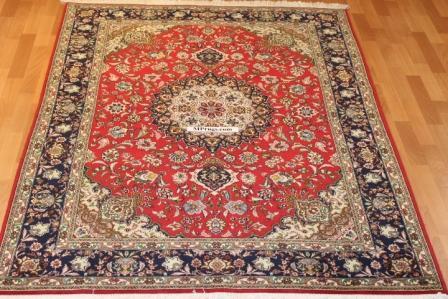 7x5 silk Tabriz silk Persian rug, 350 KPSI 50 raj handmade Tabriz carpet.