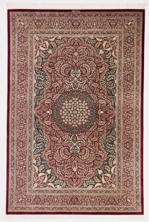 7x5 red blue Qom silk Persian rugs. Pure Silk Qum Persian carpet with 700kpsi.