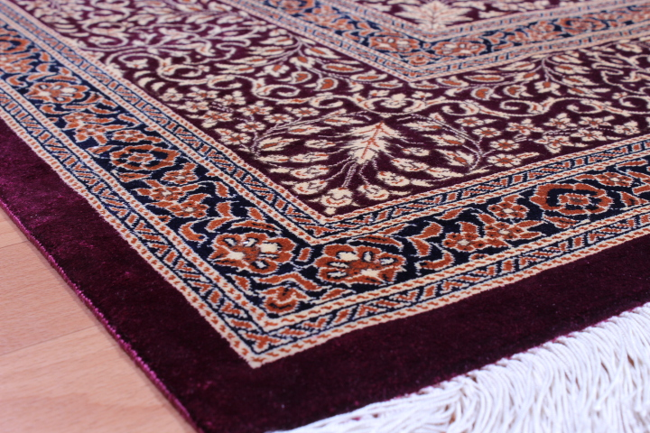 7x5 red blue Qom silk Persian rugs. Pure Silk Qum Persian carpet with 700kpsi.