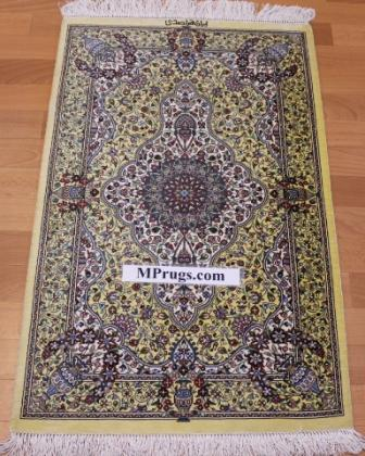 3x2 700 kpsi qum Persian rug, signed qom carpet