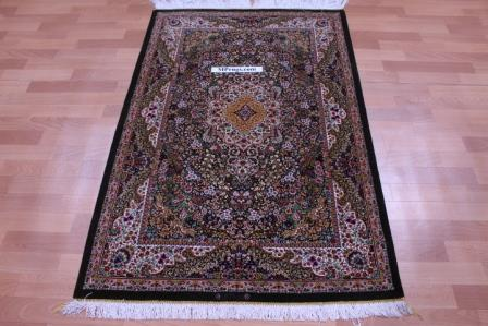 5'x3' pure silk Qum Persian rug with 900 KPSI
