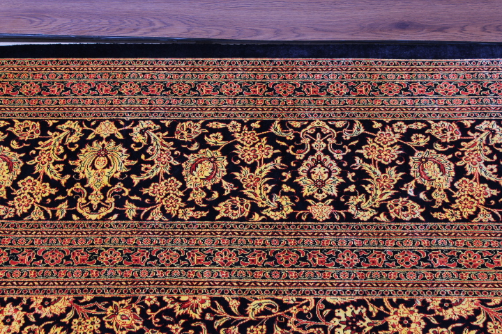 13x10 versace floral Qom silk Persian rugs. Pure Silk Qum Persian carpet with black and gold colors