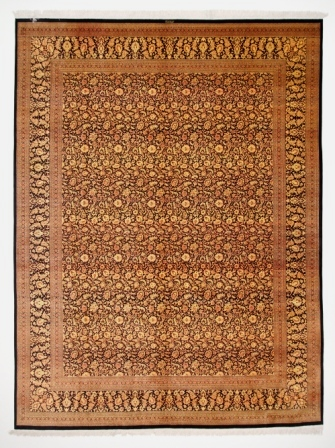 13x9 black gold Qom silk Persian rug with 700KPSI. Pure Silk Qum Persian carpet with black gold colors.