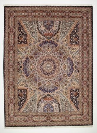 55 Raj Tabriz Gonbad Persian rug with a silk foundation. 13x10 silk 400KPSI Gonbad Tabriz Persian carpet