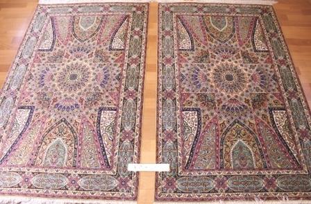 twin gonbad silk qum Persian rugs with signature