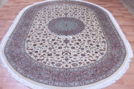 oval 10x6 Qom silk Persian rugs. oval pure Silk Qum Persian carpet.