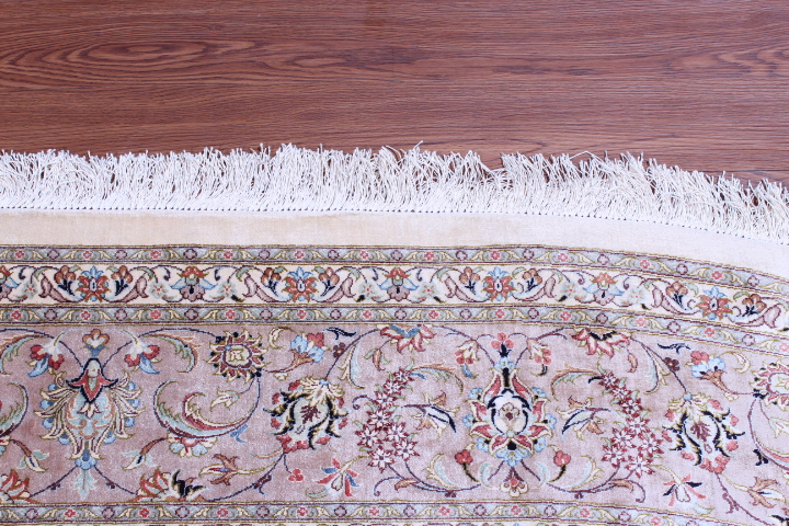 oval 11x6 Qom silk Persian rugs. oval pure Silk Qum Persian carpet.
