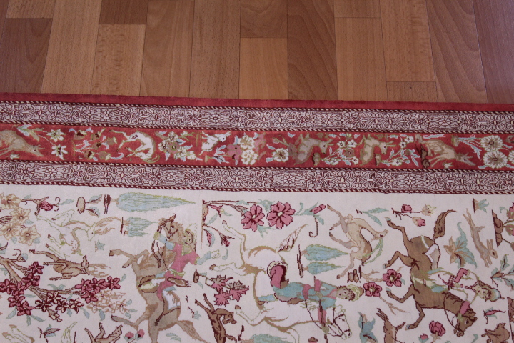 2x4 silk qum Persian rug with hunting design; Handmade pictorial Qum silk carpet