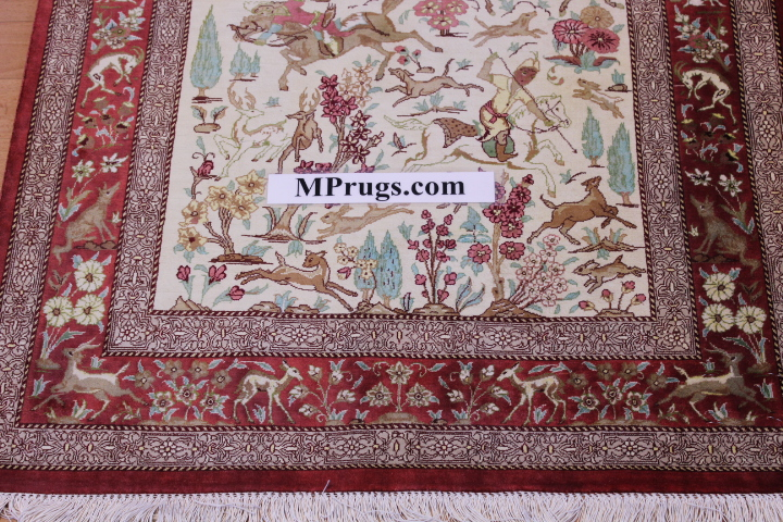 2x4 silk qum Persian rug with hunting design; Handmade pictorial Qum silk carpet