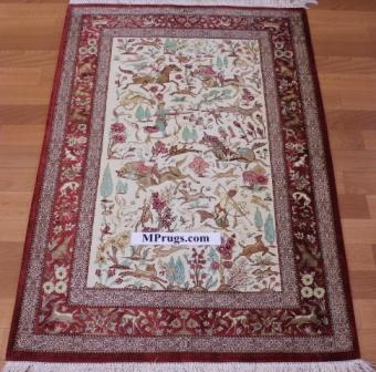 4x2 pictorial hunting silk qum Persian rug, signed qom carpet