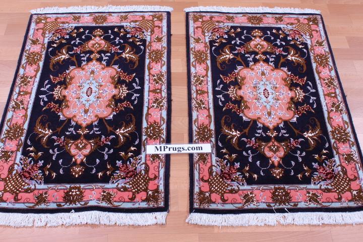 3x2 Tabriz Persian rug with silk highlights.