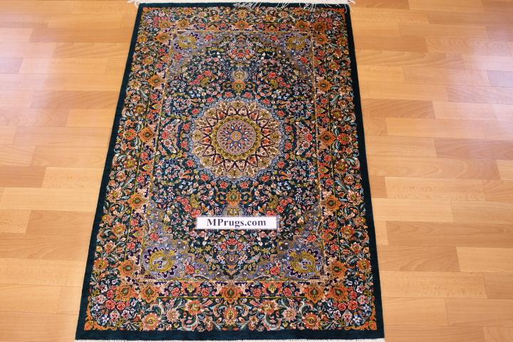 4x2 green orange silk qum Persian rug, signed qom carpet