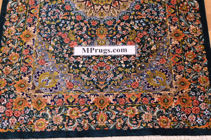 4x2 green orange silk qum Persian rug, signed qom carpet