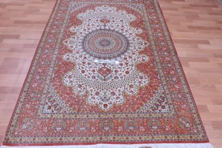 Light colored 6x4 Qom silk Persian rugs. 800 KPSI Pure Silk Qum Persian carpet genuine handmade.