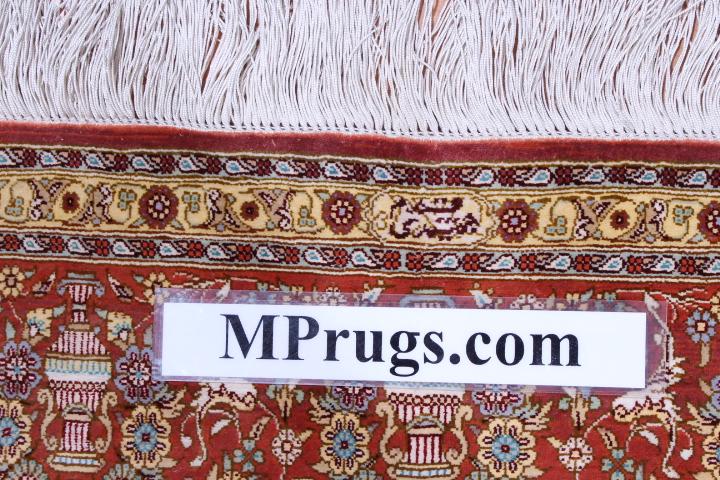 Light colored 6x4 Qom silk Persian rugs. 800 KPSI Pure Silk Qum Persian carpet genuine handmade.
