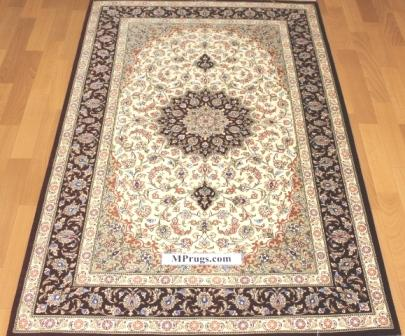 3x5 900 kpsi qum Persian rug with signature; masterpiece Qum silk carpet