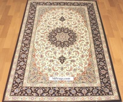 3x5 900 kpsi qum Persian rug with signature; masterpiece Qum silk carpet