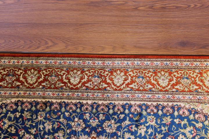 4x2 turquoise and orange silk qum Persian rug, signed qom carpet