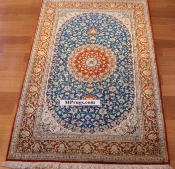 4x2 turquoise and orange silk qum Persian rug, signed qom carpet
