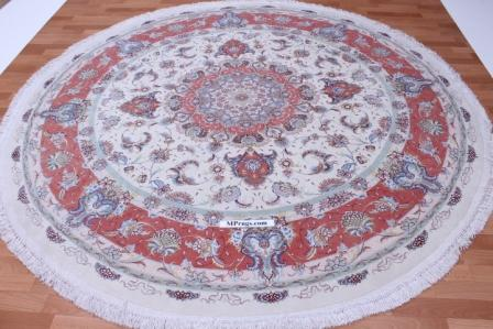55 Raj Round Tabriz Persian rug with a silk foundation. Beige round Tabriz Persian carpet.