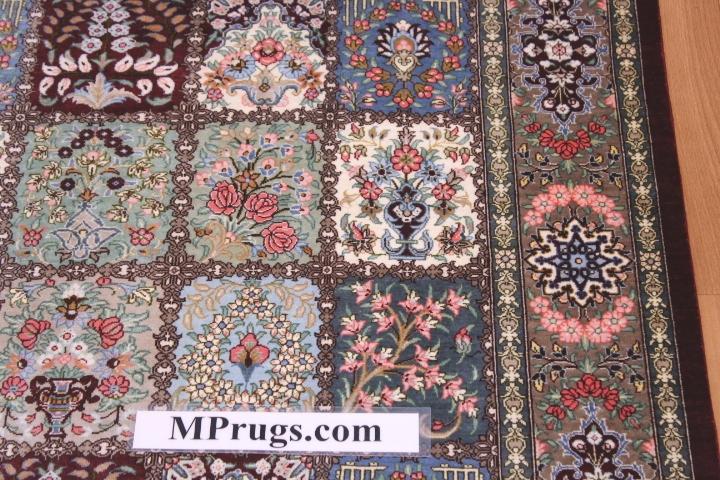 Pictorial silk qum Persian rug with 800kpsi; Tile design Qum silk carpet