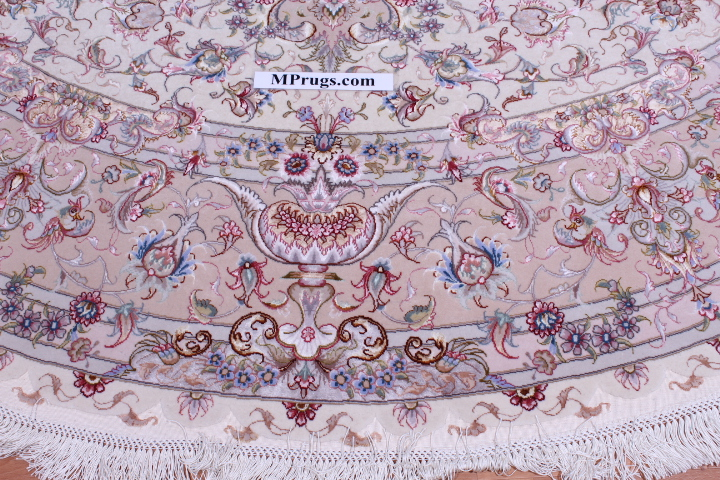 70 Raj Round Behnam Tabriz Persian rug with a silk foundation. Round Beige Behnam Tabriz Persian carpet.
