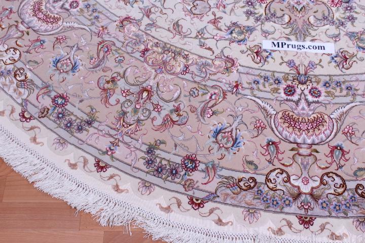70 Raj Round Behnam Tabriz Persian rug with a silk foundation. Round Beige Behnam Tabriz Persian carpet.