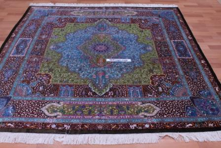 7' 2m square pure silk Qum Persian rug with 1000 kpsi