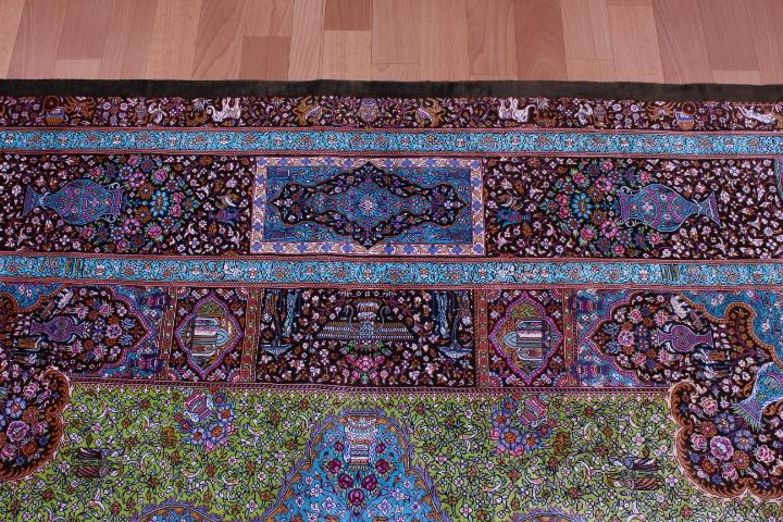 7' 2m square pure silk Qum Persian rug with 1000 kpsi