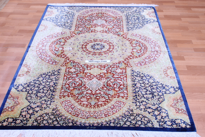 6x4 light blue pure silk Qum Persian rug