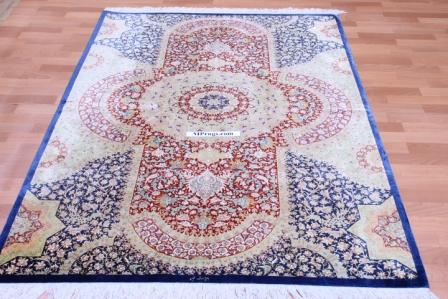 6x4 light blue pure silk Qum Persian rug with 800 KPSI