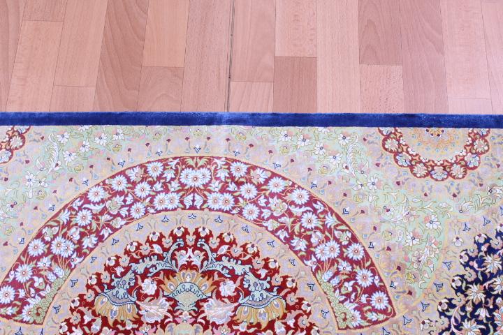 6x4 light blue pure silk Qum Persian rug