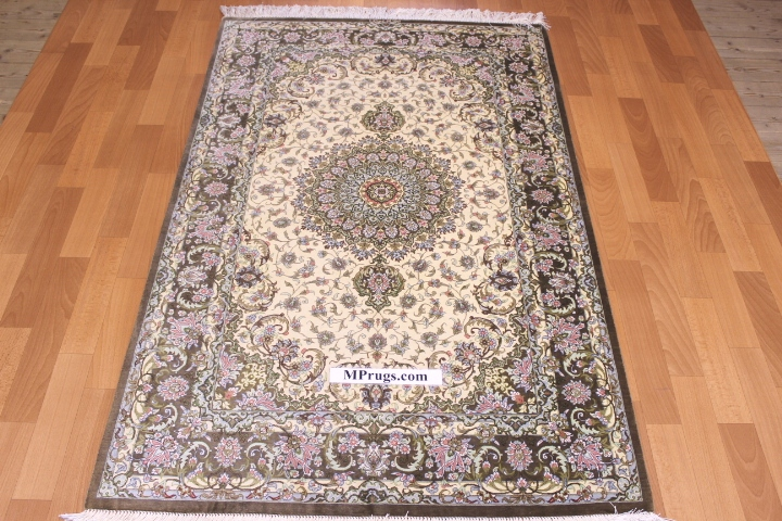 5x3 silk qom Persian rug with 600kpsi; beige pure silk Qum Persian carpet. Genuine pure silk qom Persian rug with signature