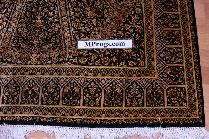 6'x4' pure silk Qum Persian rug with Gonbad Design 700 KPSI