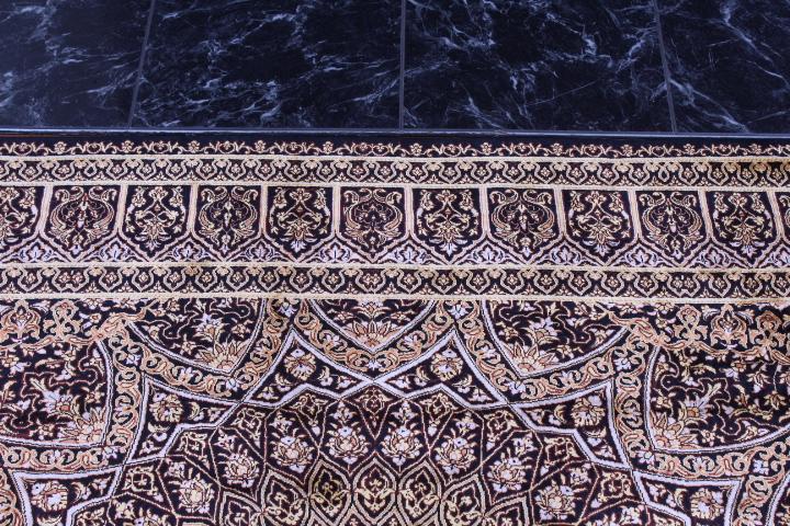 6'x4' pure silk Qum Persian rug with Gonbad Design 700 KPSI
