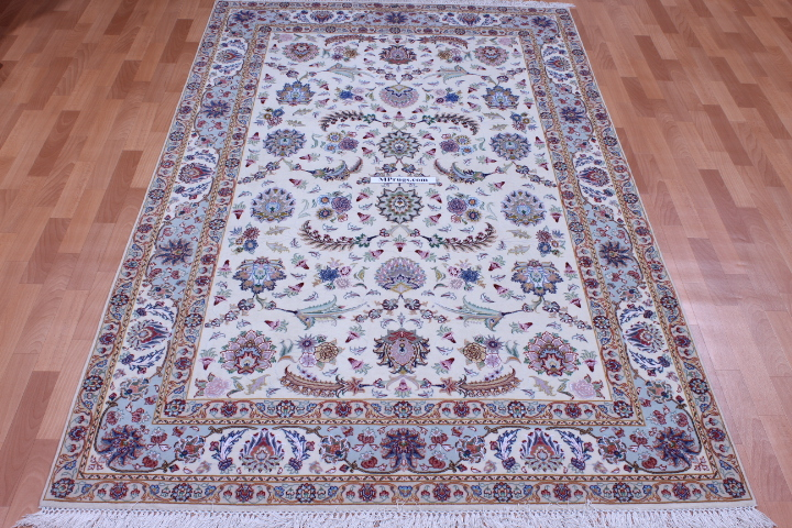 60 Raj Faraji Tabriz Persian rug with 400 KPSI. 8x6 silk Faraji Tabriz Persian carpet