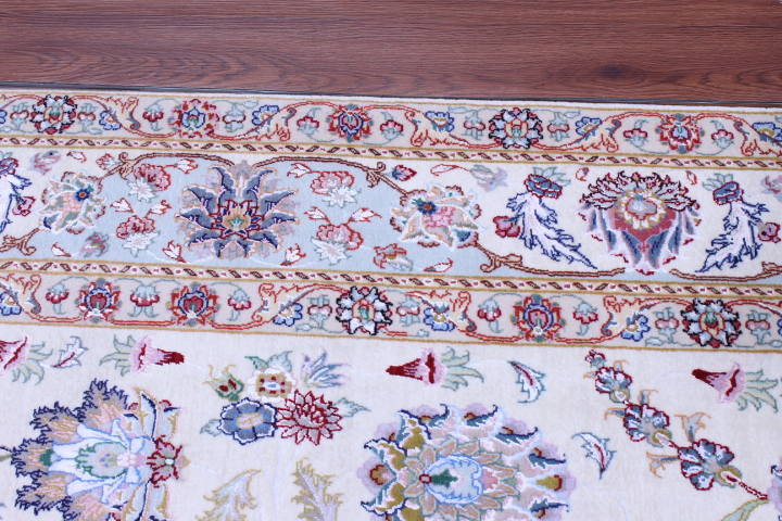 60 Raj Faraji Tabriz Persian rug with 400 KPSI. 8x6 silk Faraji Tabriz Persian carpet