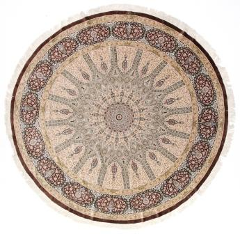 Large 8' round Qom silk Persian rug showpiece. Amazing 8' Round pure Silk Qum Persian carpet.