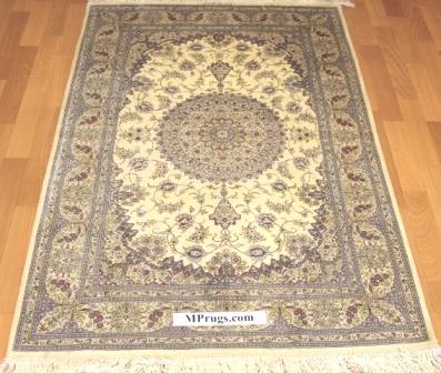 3x5 silk qum Persian rug with 500 kpsi; Handmade Qum silk carpet