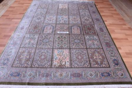 10x7 900 KPSI Qom silk Persian rugs. Handmade Pure Silk Qum Persian carpet.