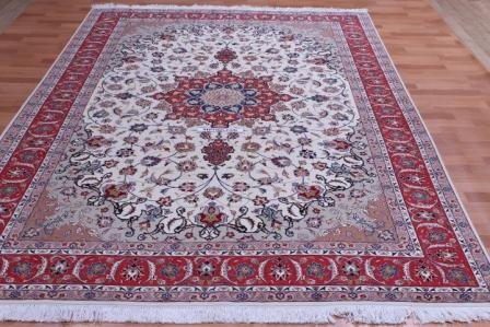 50 Raj silk Tabriz Persian rug with 350 KPSI. 10x7 high quality Tabriz Persian carpet.