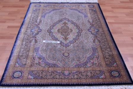 6'x4' 800kpsi pure silk Qum Persian rug with signature