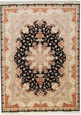 55 Raj black Tabriz Persian rug with a silk foundation. 13x10 black silk 400KPSI Tabriz Persian carpet