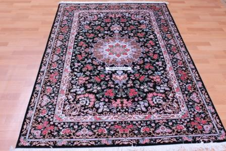 7x4 black Qom silk Persian rug. Pure Silk Qum Persian carpet with black color and 700KPSI