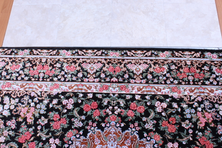 7x4 black Qom silk Persian rug. Pure Silk Qum Persian carpet with black color and 700KPSI