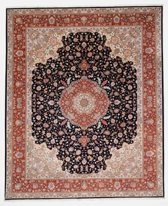 50 Raj Tabriz Persian rug in 10x8 size. High Quality black Tabriz Persian carpet with silk.