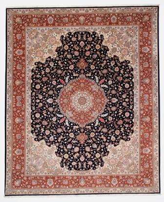 50 Raj Tabriz Persian rug in 10x8 size. High Quality black Tabriz Persian carpet with silk.